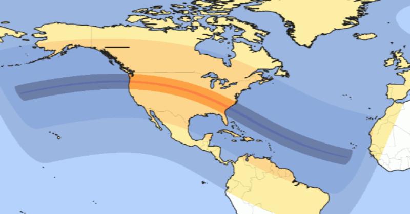 Obszar, z którego będzie widać zaćmienie Słońca (21.08.2017 r.)