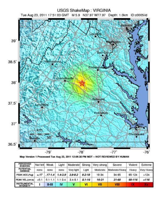Trzęsienie ziemi w USA/ USGS