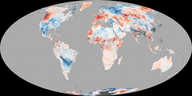 Odchylenie średniej temperatury podłoża na świecie od średniej z okresu 30 czerwca do 9 lipca
