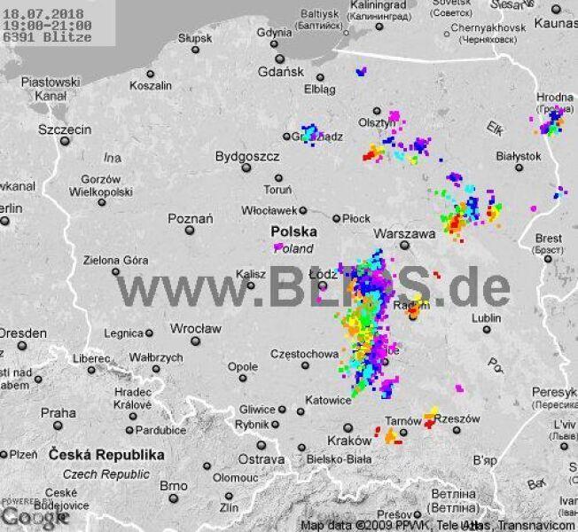 Ścieżka burz w godzinach 19.00-21.00 (blids.de)