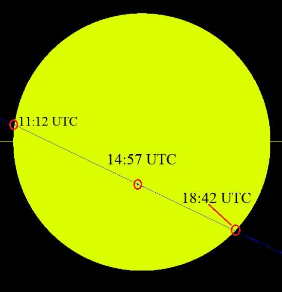 Trasa przejścia Merkurego na tle Słońca 9 maja 2016 roku