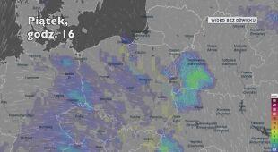 Prognozowane opady w kolejnych dniach (Ventusky.com)